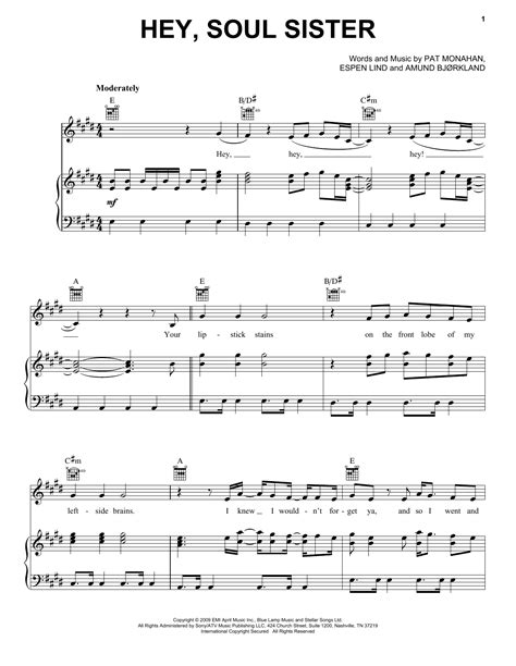 Hey, Soul Sister sheet music by Train (Piano, Vocal