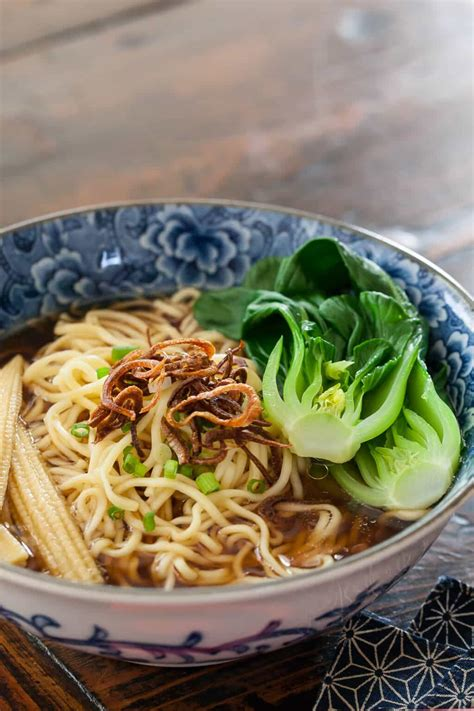 Noodle Soup with Baby Bok Choy & Crispy Shallots Recipe