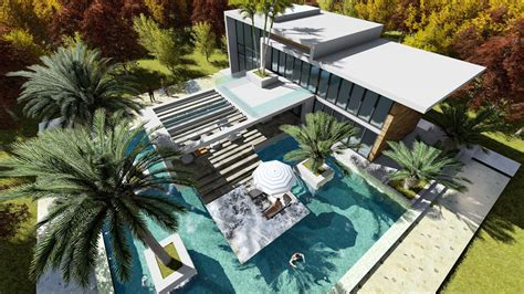 Sketchup Drawing 2 Stories Modern Villa Design with