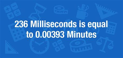 What is 236 Milliseconds in Minutes? Convert 236 ms to min