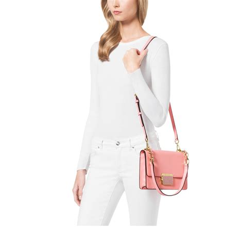 Michael Kors Cynthia Small Leather Shoulder Bag in Pale