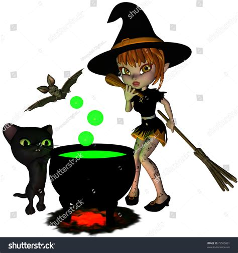 Cauldron Witch Cute Halloween Witch Brewing Stock